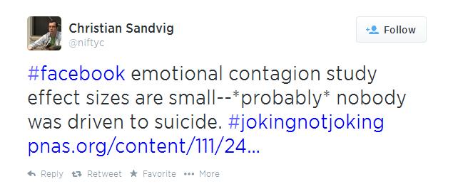 Tweet sobre Facebook a manipular emocões