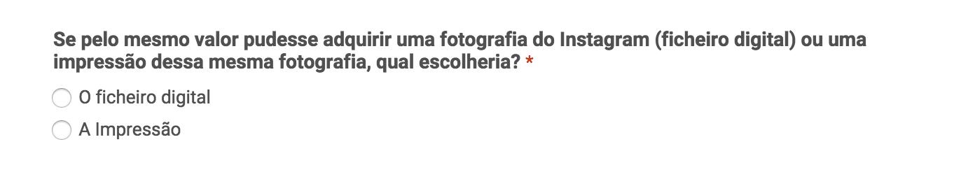 A ultima pergunta do questionário do Pedro Rebelo sobre o Instagram
