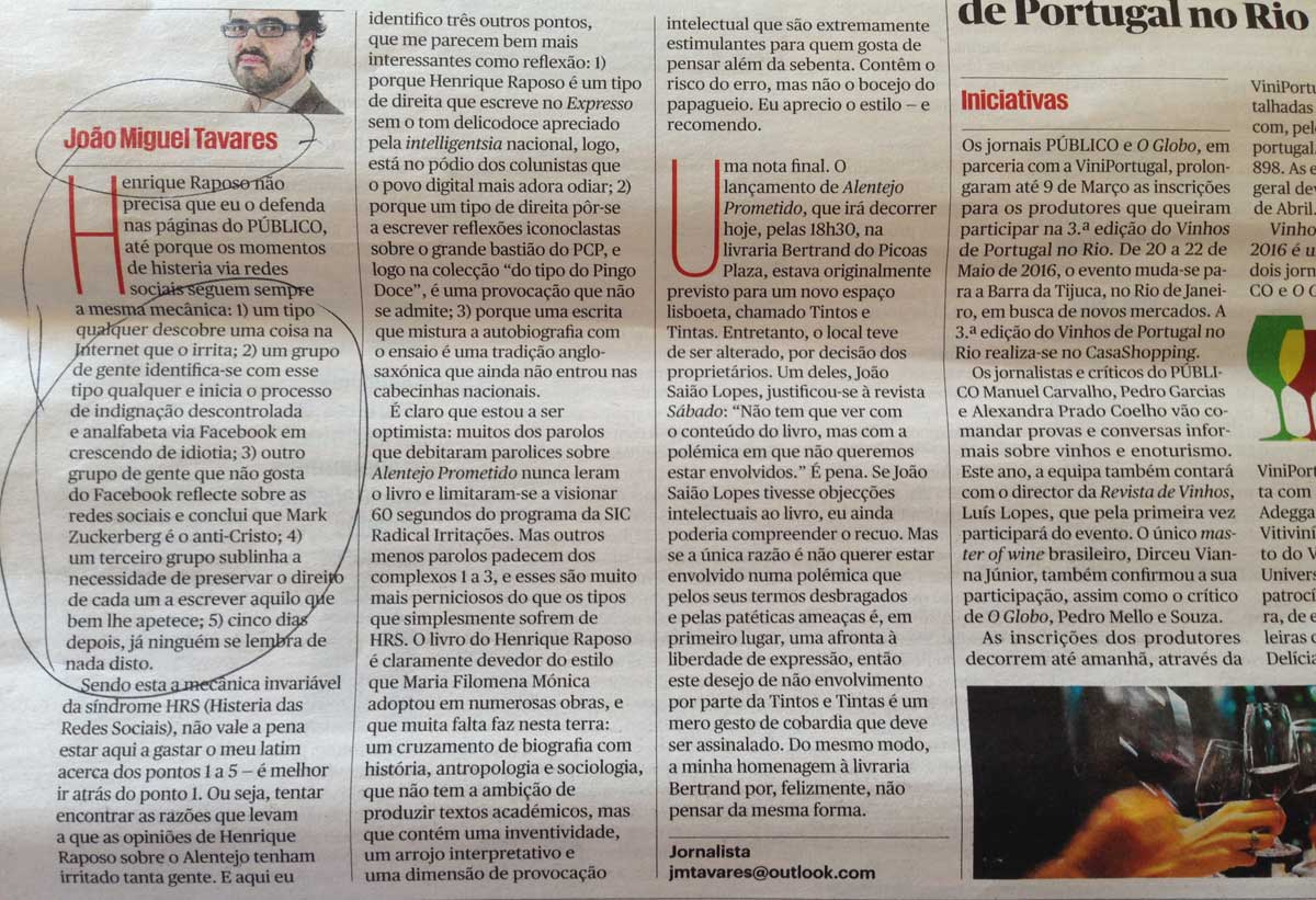 João Miguel Tavares sobre Henrique Raposo, no Público