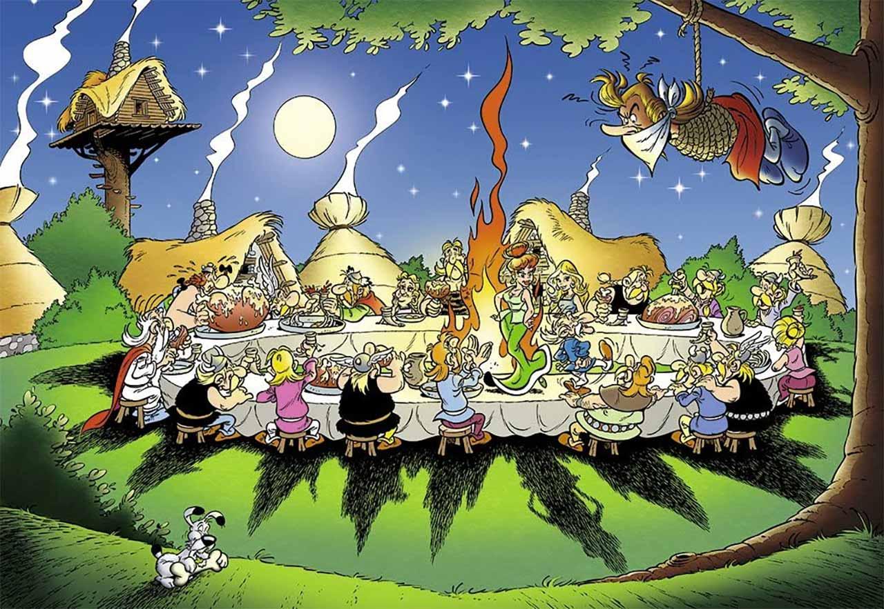 O COVID19 e a aldeia irredutível . Banquete do Asterix com o bardo pendurado na arvore